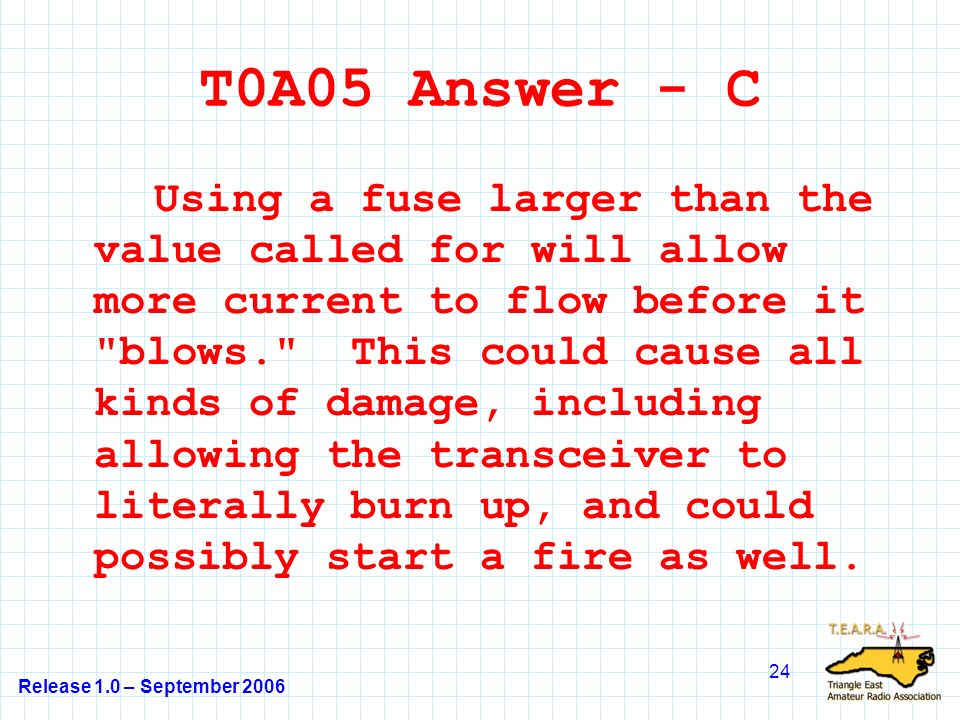 Release 1.0 – September 2006 24 T0A05 Answer - C Using a fuse larger than the value called for will allow more current to flow before it blows. This could cause all kinds of damage, including allowing the transceiver to literally burn up, and could possibly start a fire as well.