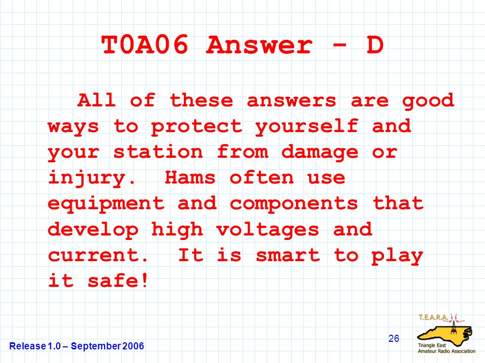 Release 1.0 – September 2006 26 T0A06 Answer - D All of these answers are good ways to protect yourself and your station from damage or injury.