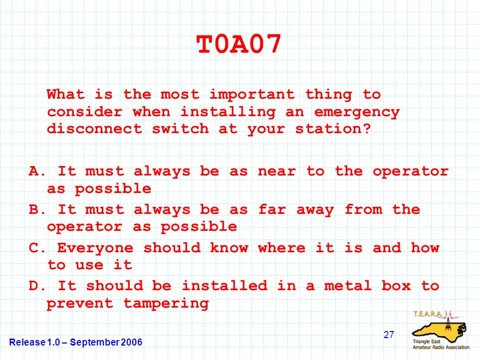 Release 1.0 – September 2006 27 T0A07 What is the most important thing to consider when installing an emergency disconnect switch at your station.