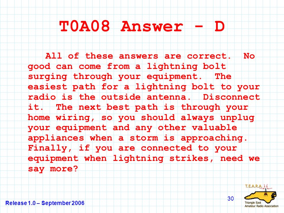 Release 1.0 – September 2006 30 T0A08 Answer - D All of these answers are correct.