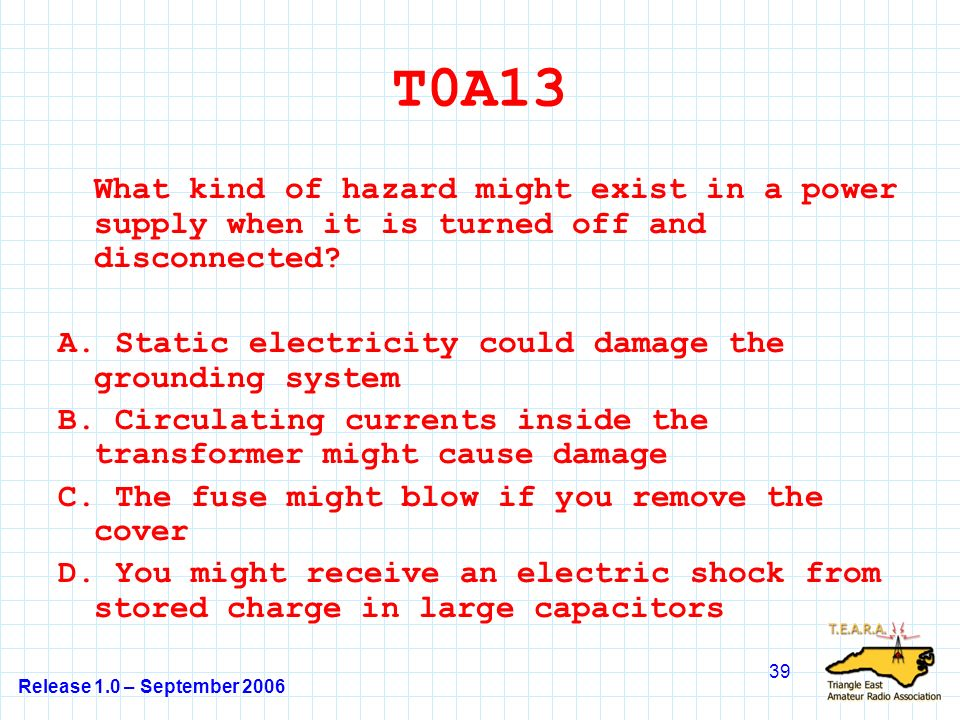 Release 1.0 – September 2006 39 T0A13 What kind of hazard might exist in a power supply when it is turned off and disconnected.