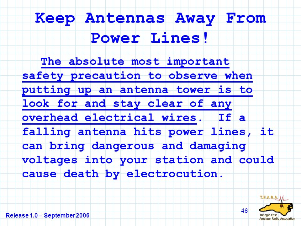 Release 1.0 – September 2006 46 Keep Antennas Away From Power Lines.