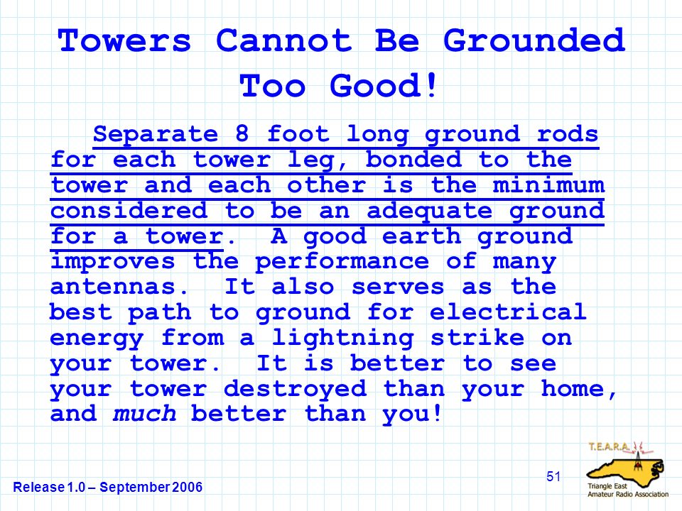 Release 1.0 – September 2006 51 Towers Cannot Be Grounded Too Good.