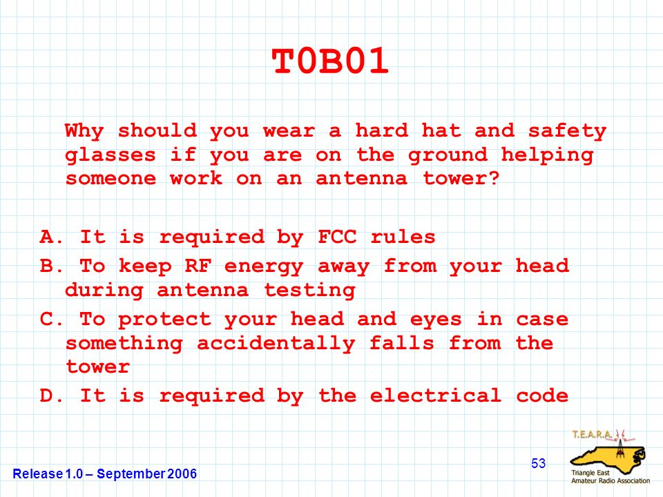 Release 1.0 – September 2006 53 T0B01 Why should you wear a hard hat and safety glasses if you are on the ground helping someone work on an antenna tower.