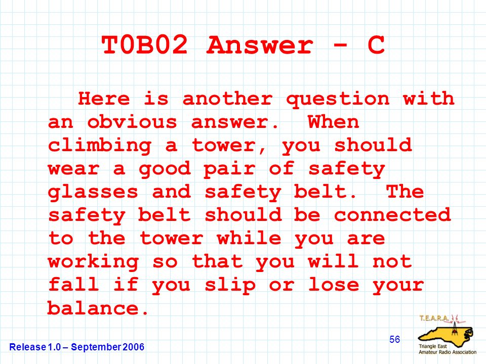 Release 1.0 – September 2006 56 T0B02 Answer - C Here is another question with an obvious answer.