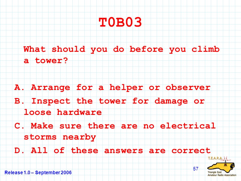 Release 1.0 – September 2006 57 T0B03 What should you do before you climb a tower.