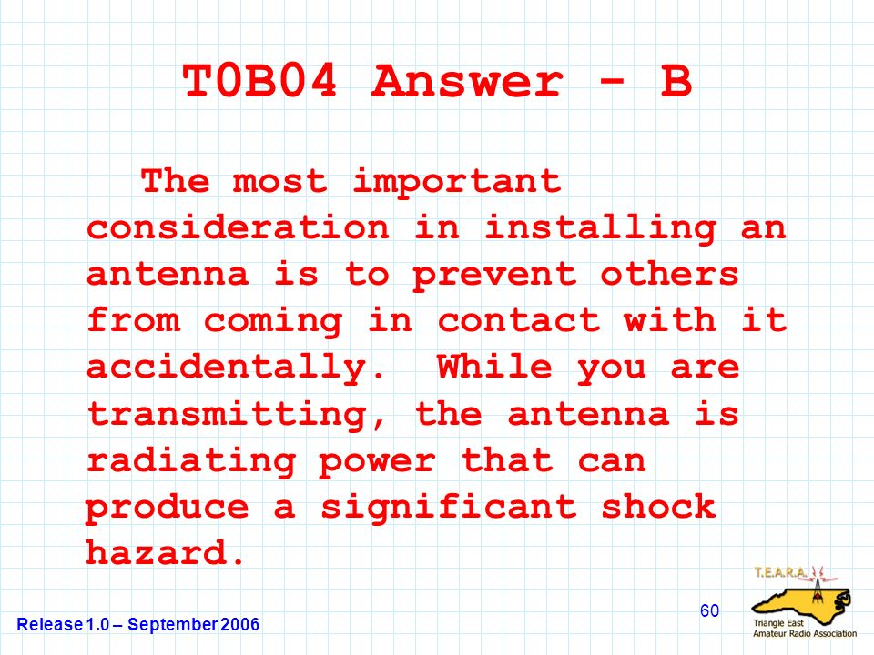 Release 1.0 – September 2006 60 T0B04 Answer - B The most important consideration in installing an antenna is to prevent others from coming in contact with it accidentally.