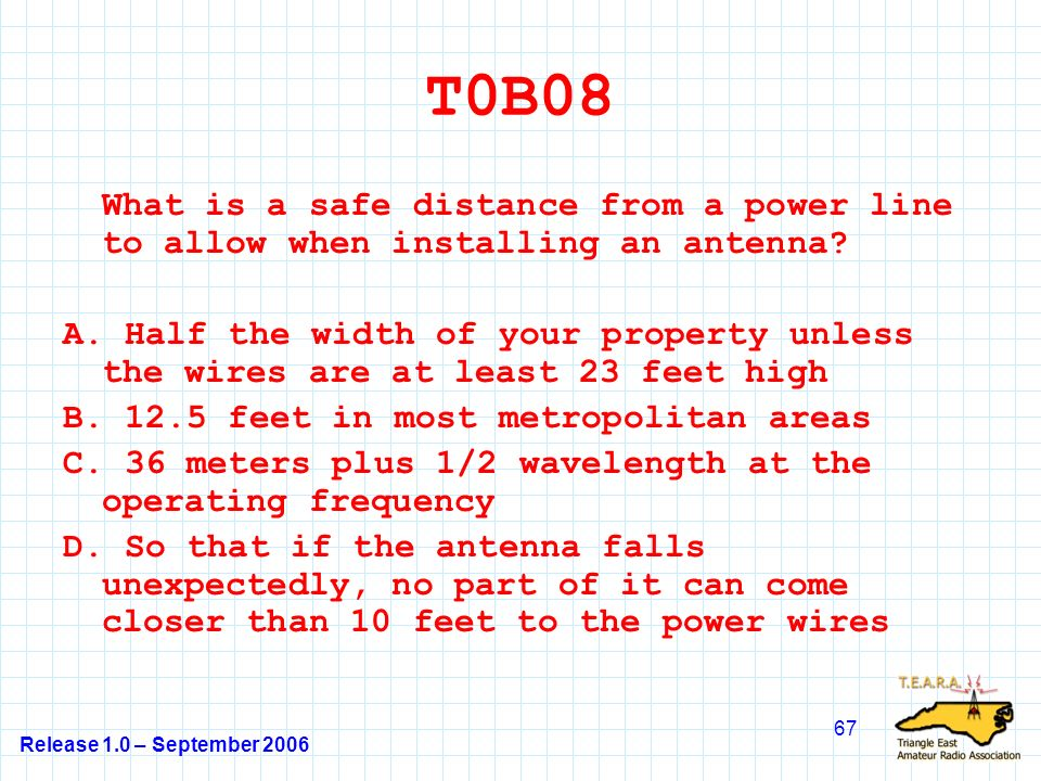 Release 1.0 – September 2006 67 T0B08 What is a safe distance from a power line to allow when installing an antenna.
