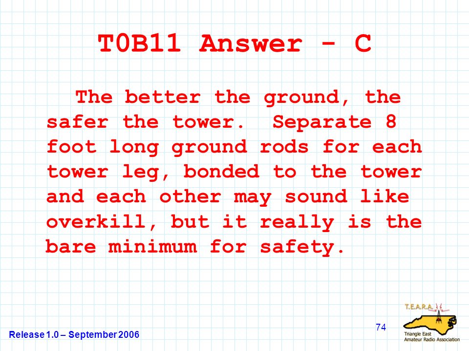 Release 1.0 – September 2006 74 T0B11 Answer - C The better the ground, the safer the tower.