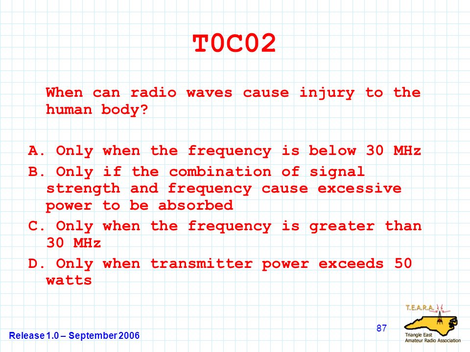 Release 1.0 – September 2006 87 T0C02 When can radio waves cause injury to the human body.