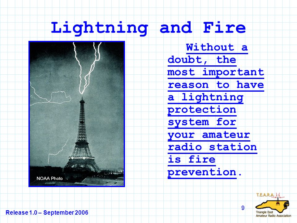 Release 1.0 – September 2006 9 Lightning and Fire Without a doubt, the most important reason to have a lightning protection system for your amateur radio station is fire prevention.