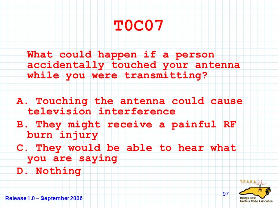 Release 1.0 – September 2006 97 T0C07 What could happen if a person accidentally touched your antenna while you were transmitting.