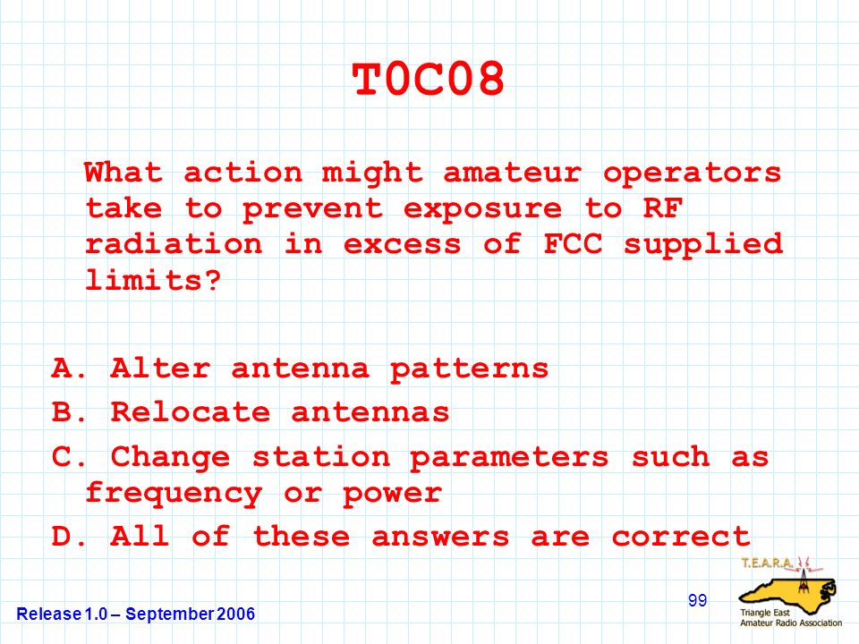 Release 1.0 – September 2006 99 T0C08 What action might amateur operators take to prevent exposure to RF radiation in excess of FCC supplied limits.