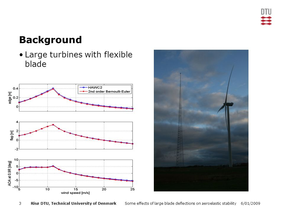 6/01/2009Some effects of large blade deflections on aeroelastic stability3Risø DTU, Technical University of Denmark Background Large turbines with flexible blade