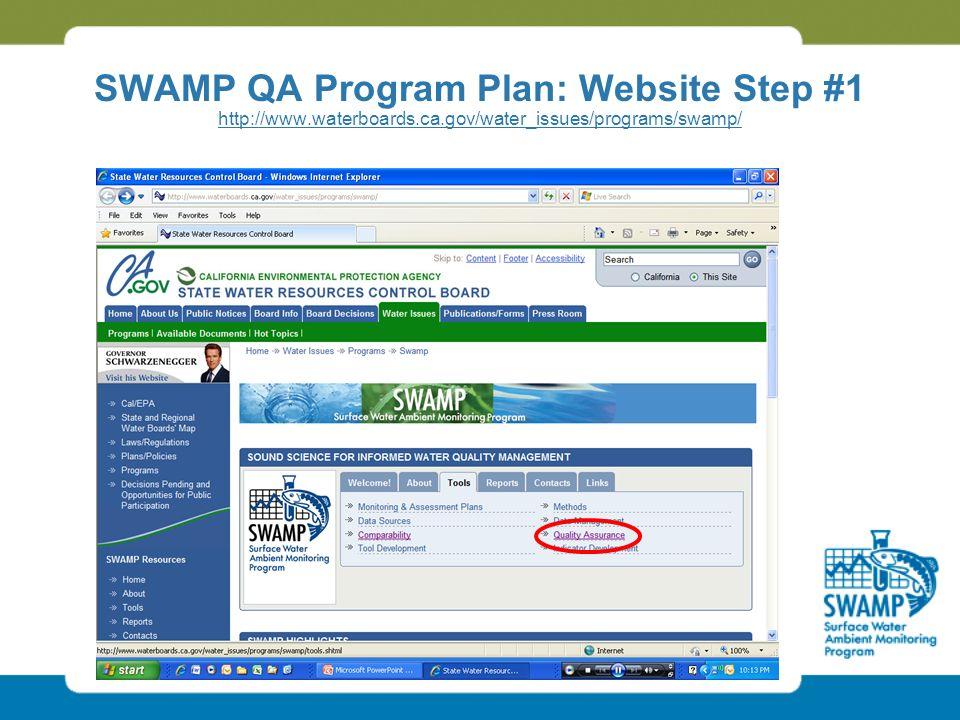 SWAMP QA Program Plan: Website Step #1 http://www.waterboards.ca.gov/water_issues/programs/swamp/