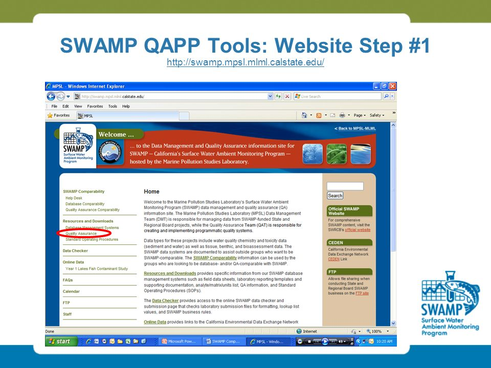 SWAMP QAPP Tools: Website Step #1 http://swamp.mpsl.mlml.calstate.edu/