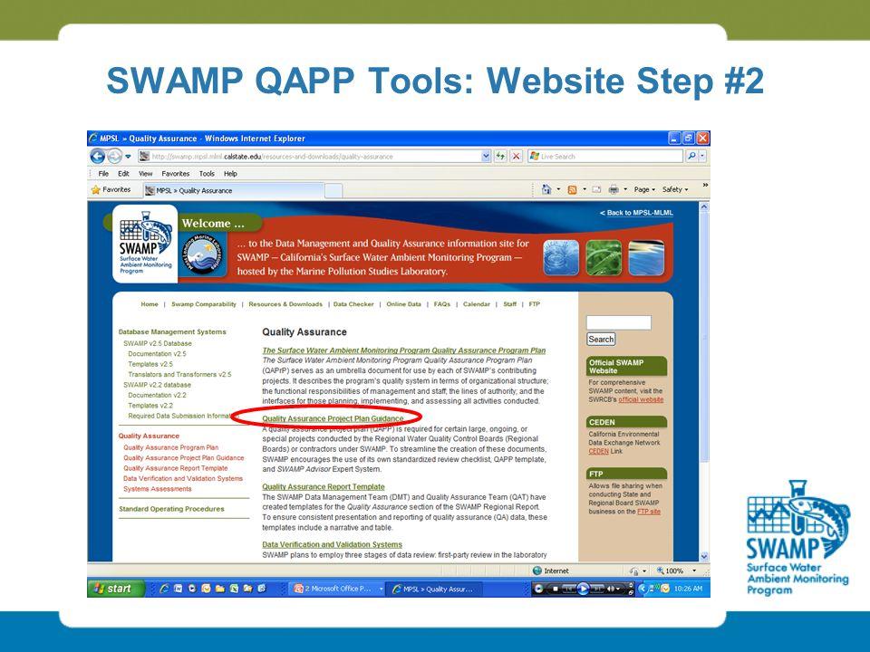 SWAMP QAPP Tools: Website Step #2