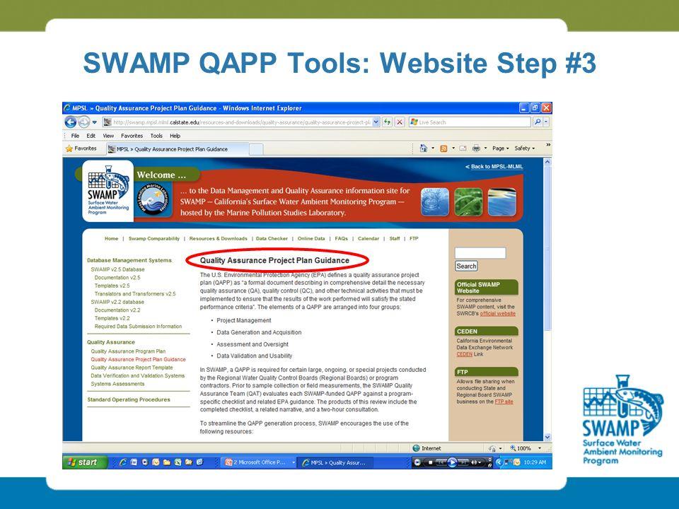 SWAMP QAPP Tools: Website Step #3