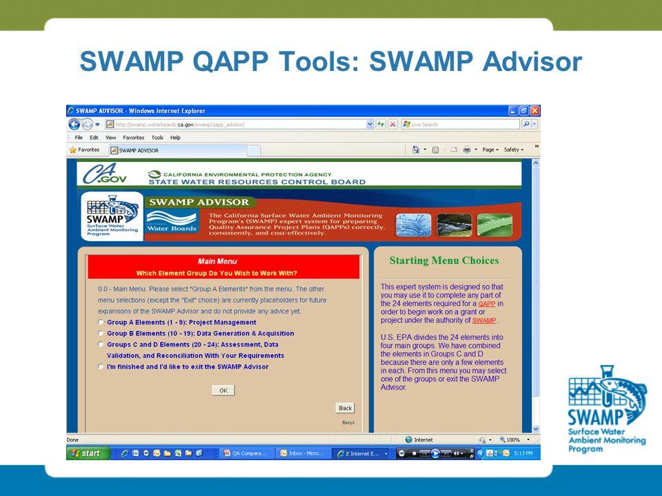 SWAMP QAPP Tools: SWAMP Advisor