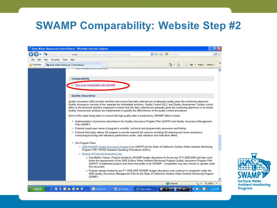 SWAMP Comparability: Website Step #2