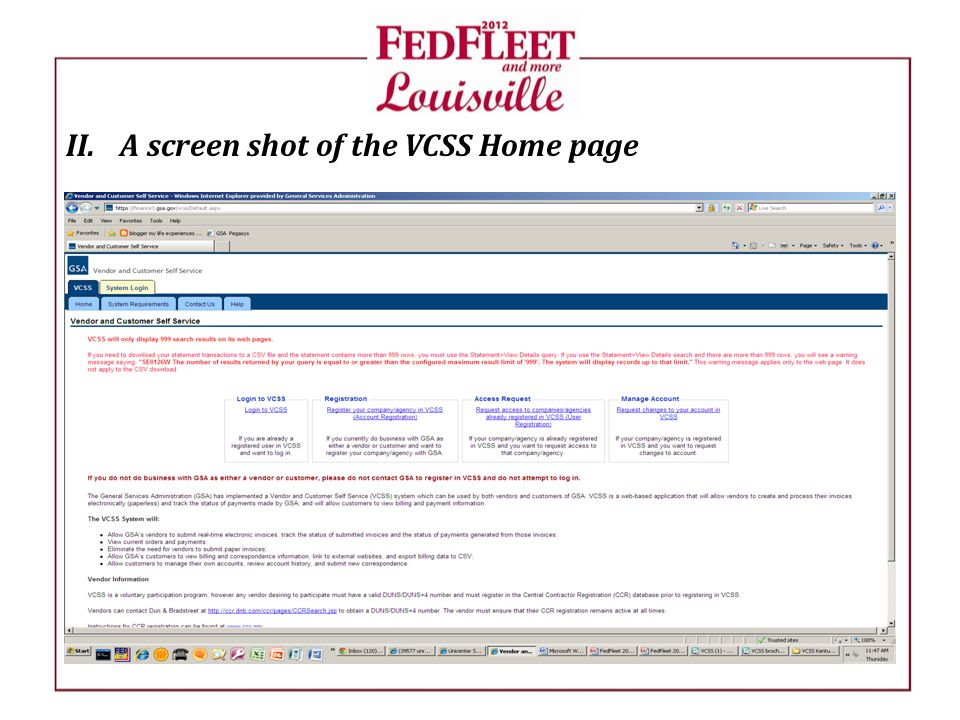 II.A screen shot of the VCSS Home page