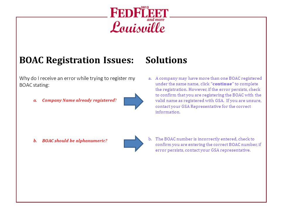 BOAC Registration Issues: Why do I receive an error while trying to register my BOAC stating: a.Company Name already registered.