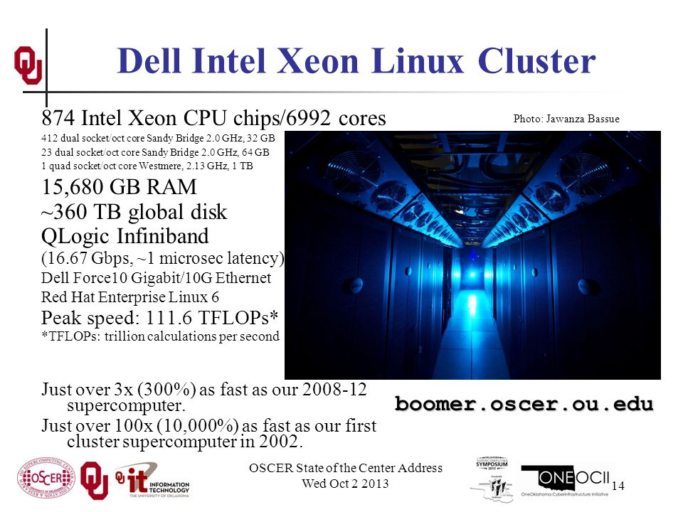 OSCER State of the Center Address Wed Oct 2 2013 14 874 Intel Xeon CPU chips/6992 cores 412 dual socket/oct core Sandy Bridge 2.0 GHz, 32 GB 23 dual socket/oct core Sandy Bridge 2.0 GHz, 64 GB 1 quad socket/oct core Westmere, 2.13 GHz, 1 TB 15,680 GB RAM ~360 TB global disk QLogic Infiniband (16.67 Gbps, ~1 microsec latency) Dell Force10 Gigabit/10G Ethernet Red Hat Enterprise Linux 6 Peak speed: 111.6 TFLOPs* *TFLOPs: trillion calculations per second Just over 3x (300%) as fast as our 2008-12 supercomputer.