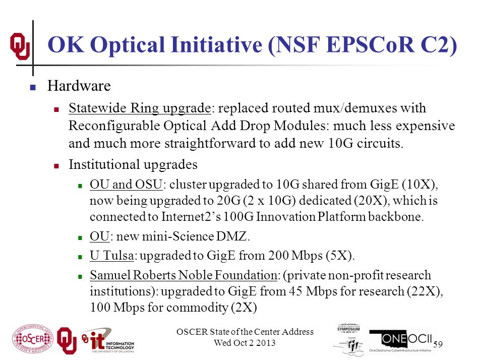 OK Optical Initiative (NSF EPSCoR C2) Hardware Statewide Ring upgrade: replaced routed mux/demuxes with Reconfigurable Optical Add Drop Modules: much less expensive and much more straightforward to add new 10G circuits.