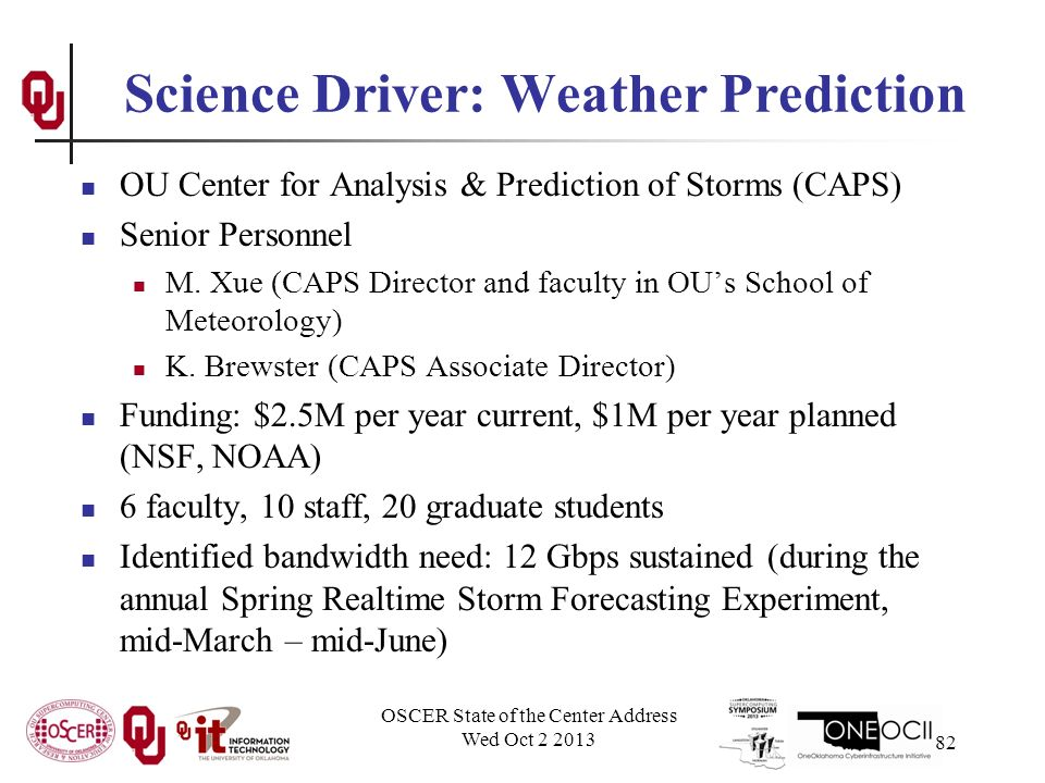 Science Driver: Weather Prediction OU Center for Analysis & Prediction of Storms (CAPS) Senior Personnel M.
