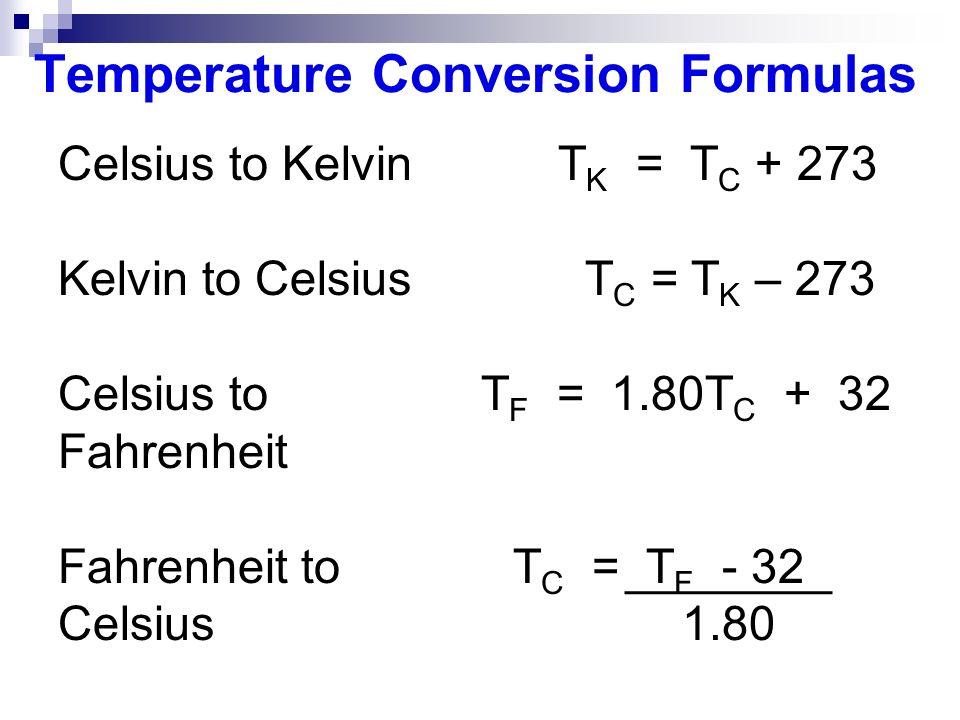 Kelvin to celsius formula