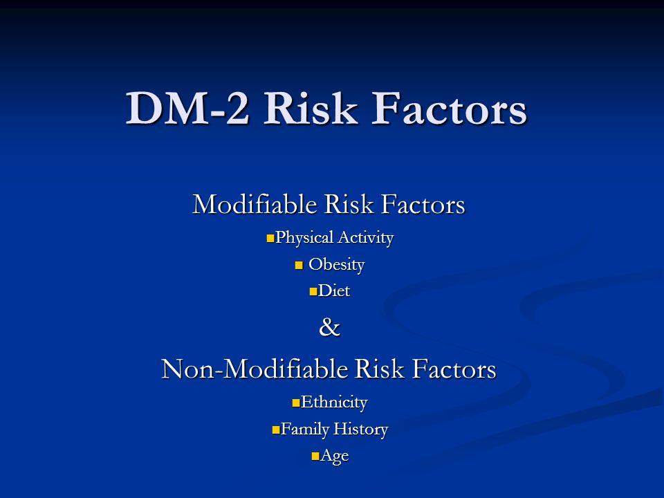 DM-2 Risk Factors Modifiable Risk Factors Physical Activity Physical Activity Obesity Obesity Diet Diet& Non-Modifiable Risk Factors Ethnicity Ethnici