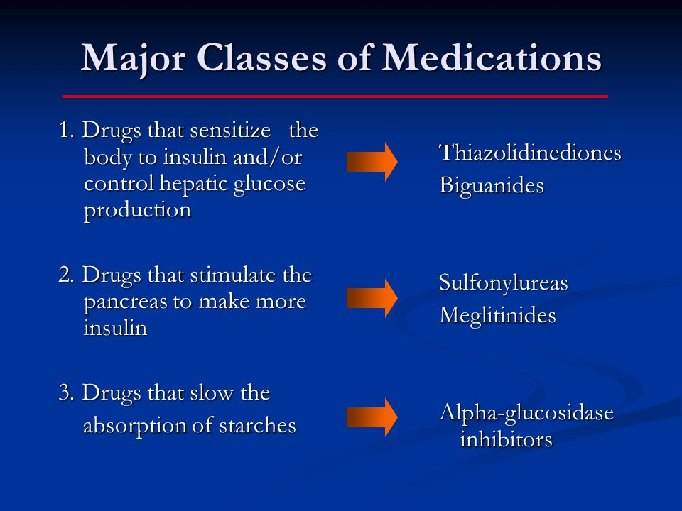 Major Classes of Medications 1. Drugs that sensitize the body to insulin and/or control hepatic glucose production 2. Drugs that stimulate the pancrea