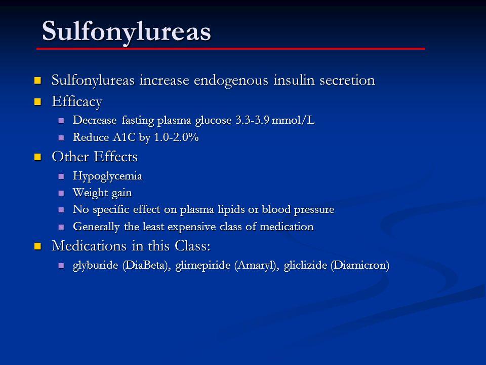 Sulfonylureas Sulfonylureas increase endogenous insulin secretion Sulfonylureas increase endogenous insulin secretion Efficacy Efficacy Decrease fasti