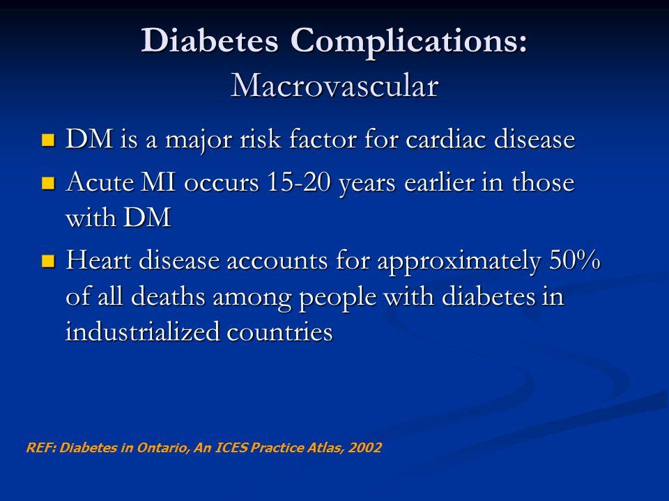 Diabetes Complications: Macrovascular DM is a major risk factor for cardiac disease DM is a major risk factor for cardiac disease Acute MI occurs 15-2
