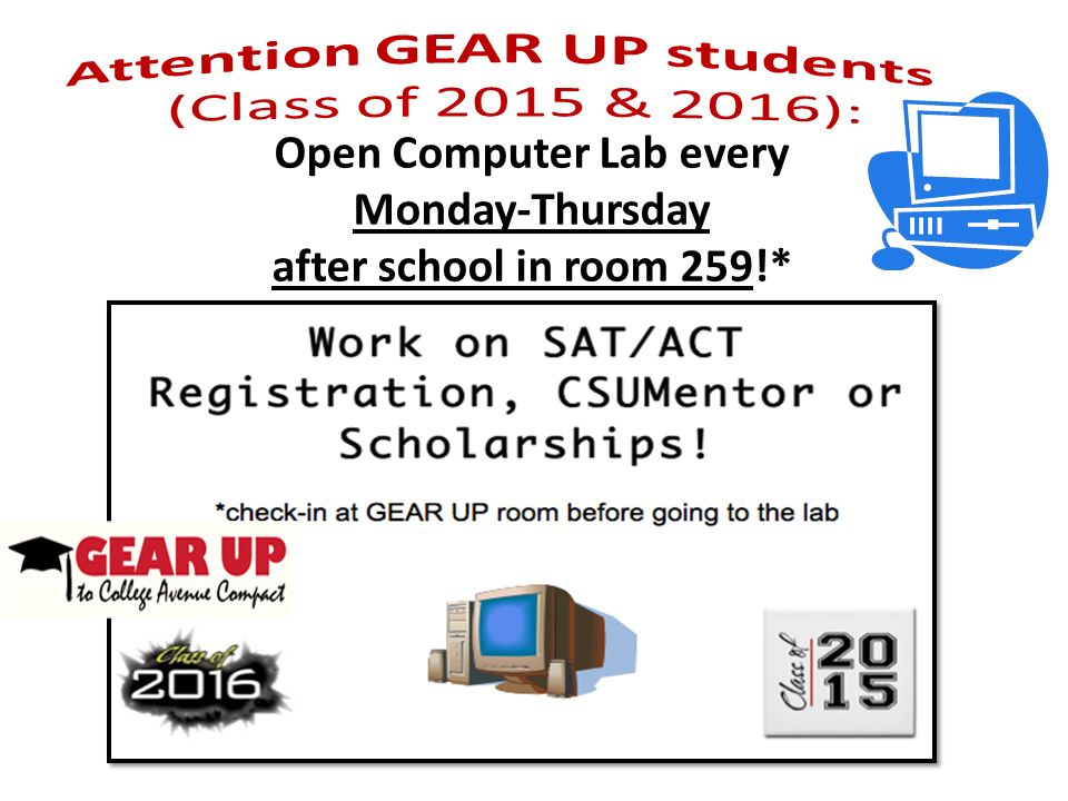 Open Computer Lab every Monday-Thursday after school in room 259!*