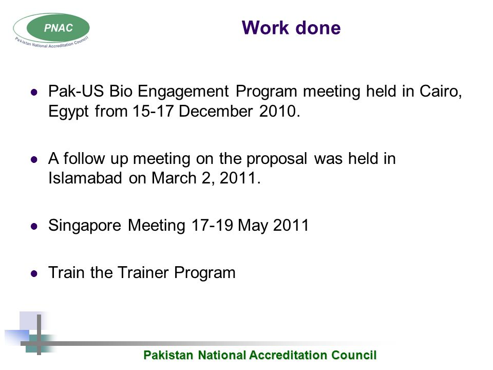 Pakistan National Accreditation Council Biorisk Management Ppt