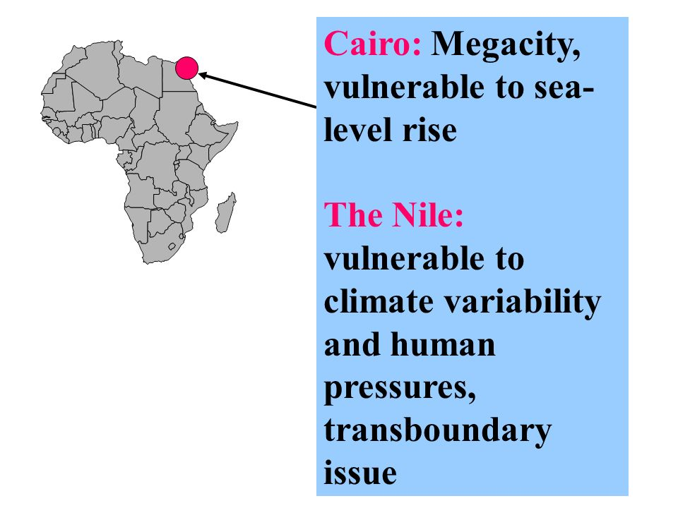 Cairo: Megacity, vulnerable to sea- level rise The Nile: vulnerable to climate variability and human pressures, transboundary issue