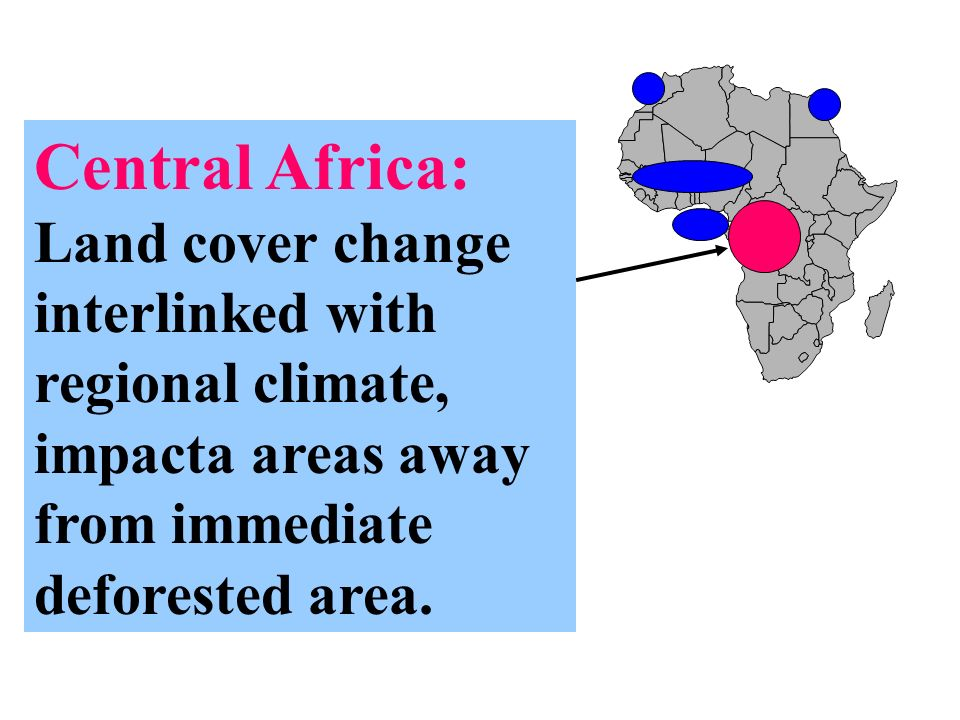 Central Africa: Land cover change interlinked with regional climate, impacta areas away from immediate deforested area.