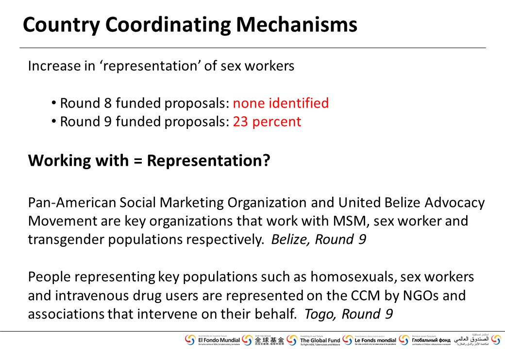 Country Coordinating Mechanisms Increase in 'representation' of sex workers Round 8 funded proposals: none identified Round 9 funded proposals: 23 percent Working with = Representation.