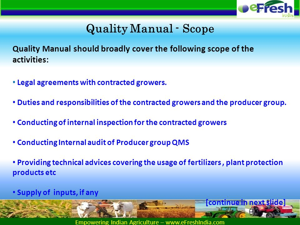 Empowering Indian Agriculture – Quality Manual For Producer Group