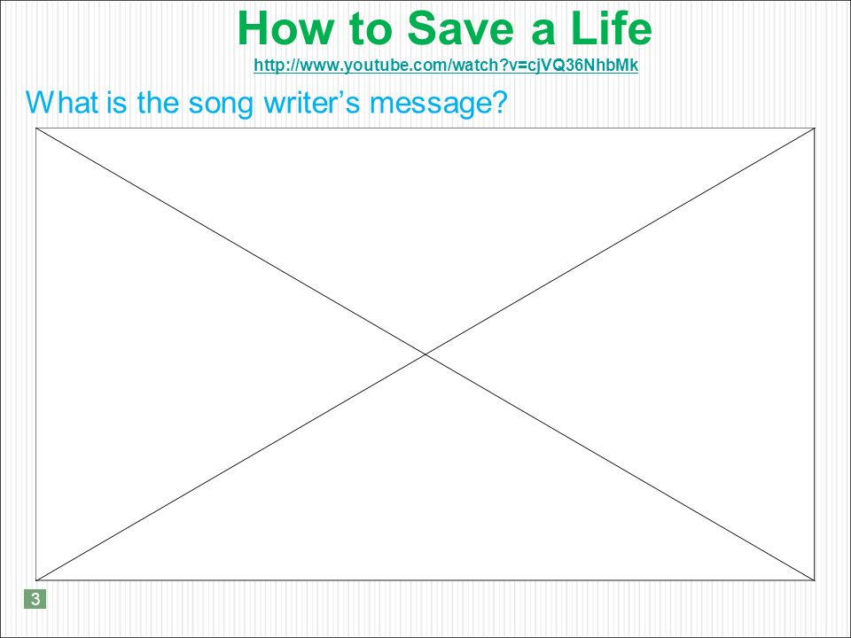 How to Save a Life   v=cjVQ36NhbMk   v=cjVQ36NhbMk What is the song writer's message.