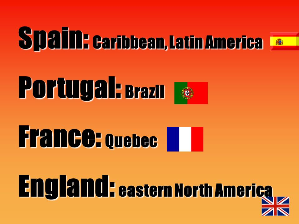 Spain: Caribbean, Latin America Portugal: Brazil France: Quebec England: eastern North America