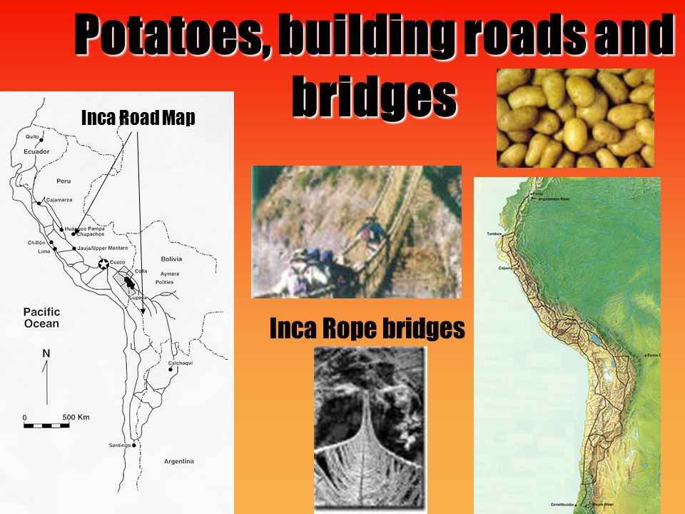 Potatoes, building roads and bridges Inca Rope bridges Inca Road Map