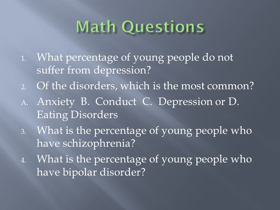 1. What percentage of young people do not suffer from depression.