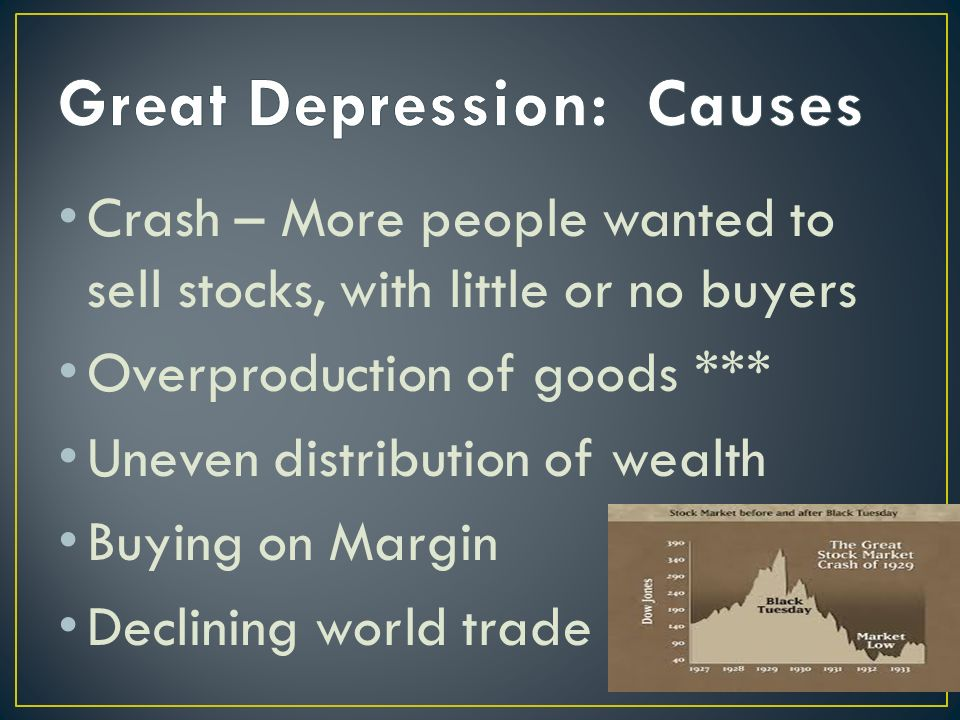 Crash – More people wanted to sell stocks, with little or no buyers Overproduction of goods *** Uneven distribution of wealth Buying on Margin Declining world trade