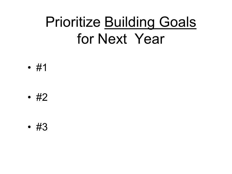 Prioritize Building Goals for Next Year #1 #2 #3