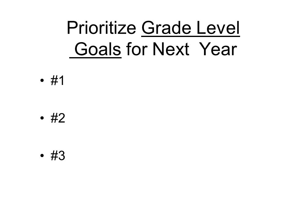 Prioritize Grade Level Goals for Next Year #1 #2 #3