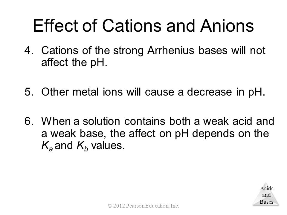 Acids and Bases Effect of Cations and Anions 4.Cations of the strong Arrhenius bases will not affect the pH.