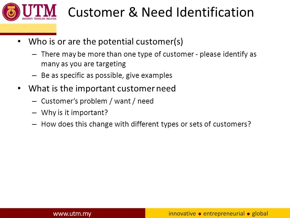 Customer & Need Identification Who is or are the potential customer(s) – There may be more than one type of customer - please identify as many as you are targeting – Be as specific as possible, give examples What is the important customer need – Customer's problem / want / need – Why is it important.