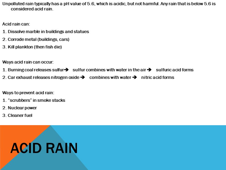ACIDS BASES SALTS UNIT 9 NOTES ACIDS An acid is a substance – Ph and Acid Rain Worksheet